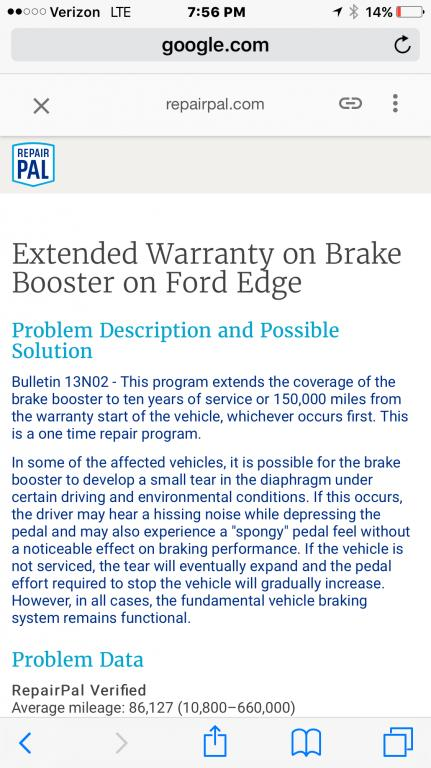 2011 Ford Edge Faulty Brake Booster: 8 Complaints