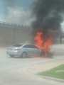 engine burst into flames while driving