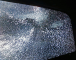 rear window shattered while driving