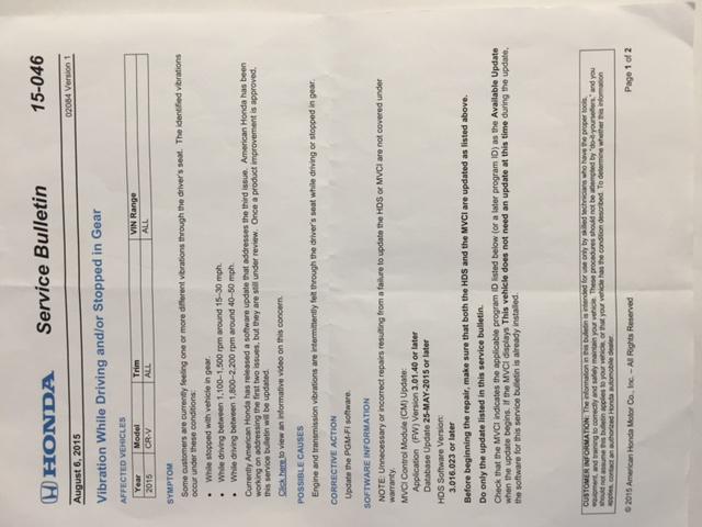 2015 Honda CR-V Vibrations | | Page 2 CarComplaints com