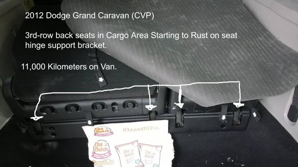 2012 dodge grand caravan interior 3rd row seat metal seat bracket surface rust 1 complaints. Black Bedroom Furniture Sets. Home Design Ideas