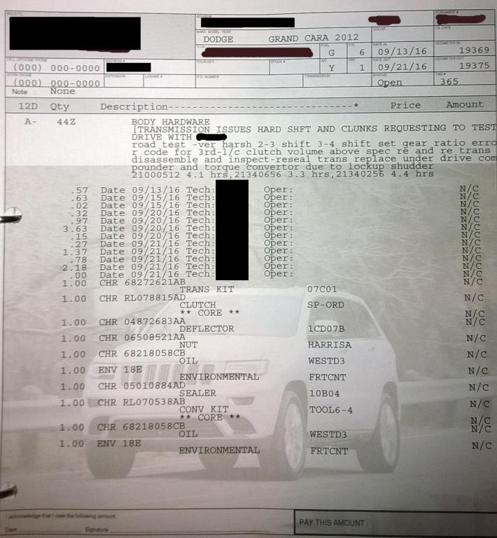 2012 Dodge Grand Caravan Shifting Loud, Roughly: 6 Complaints