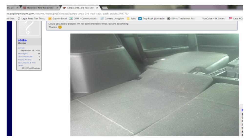 Transmission Service Cost >> 2014 Ford Explorer 3rd Row Seat - Broken Platform: 1 Complaints
