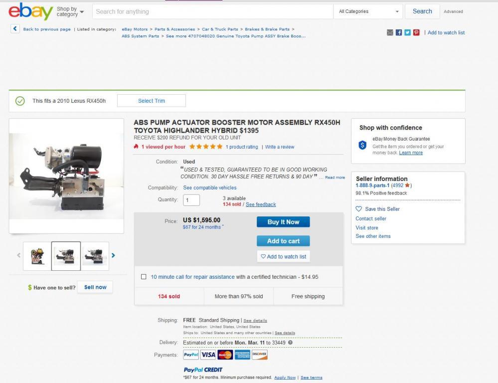 2010 Lexus RX 450h ABS Actuator Bad: 3 Complaints