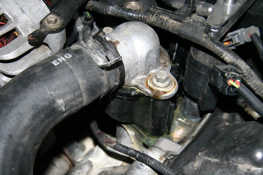 coolant leak in the thermostat area ford explorer