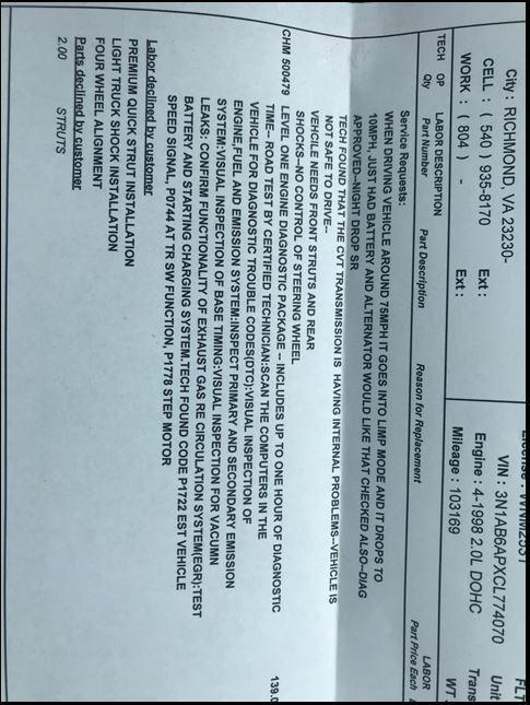 2012 Nissan Sentra Transmission Failure: 12 Complaints