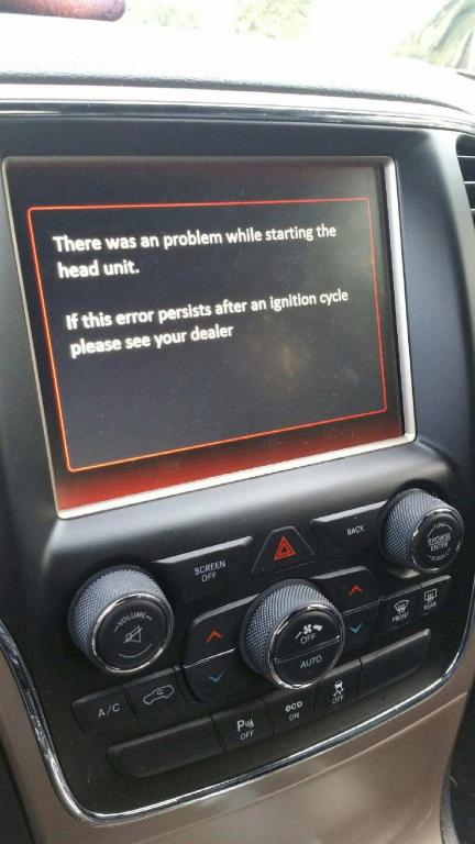 2015 Jeep Grand Cherokee Touch Screen Feature Stopped