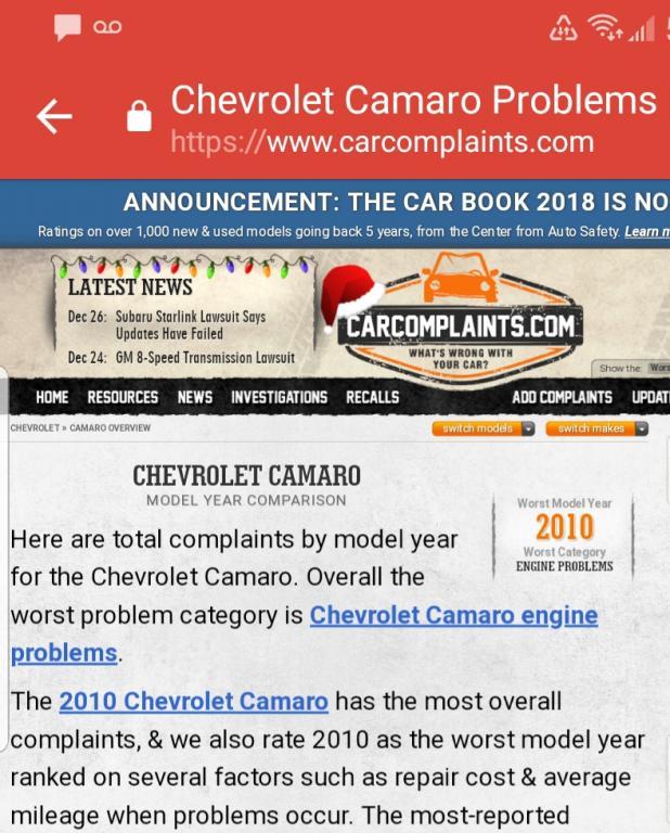 2010 Chevrolet Camaro Premature Timing Chain Wear