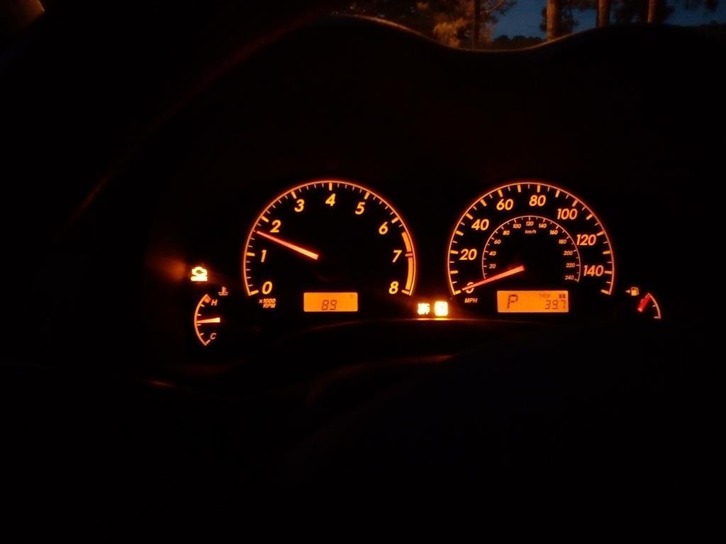check engine, anti-skid warning when braking