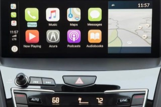 An RDX touch screen interace, currently showing Apple CarPlay