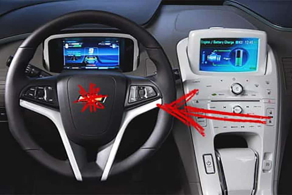 An illustrated red asterisk over a Chevy steering wheel.
