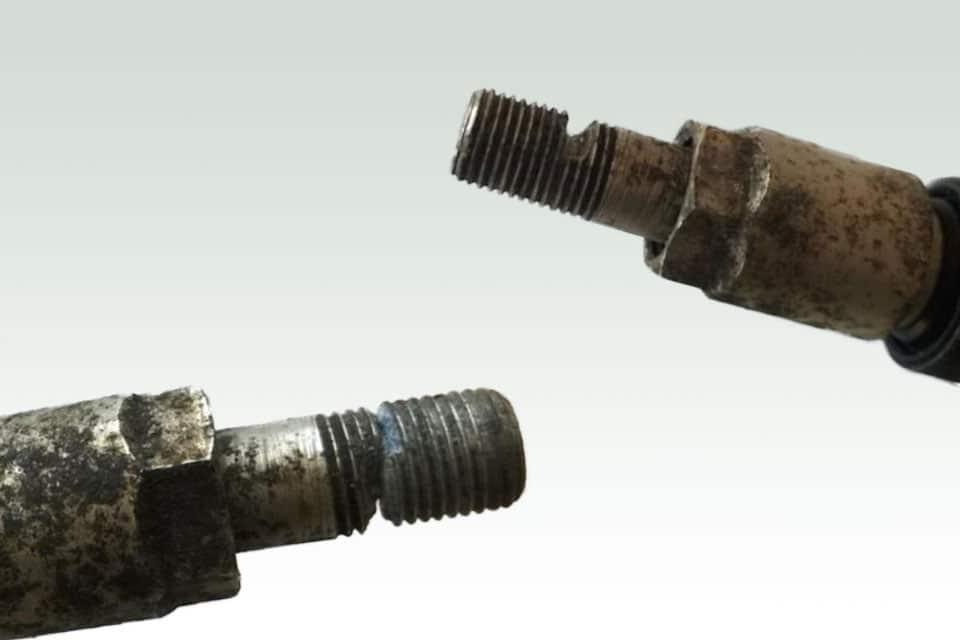 A corroded valve stem