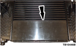Black arrow pointing to charge air cooler system
