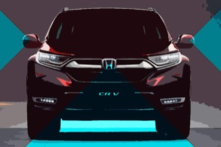 An illustrated CR-V with blue triangles beaming out from various parts of the car where there are sensors