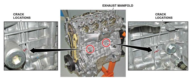 Black arrows and red circles draw attention to common crack points in the engine block