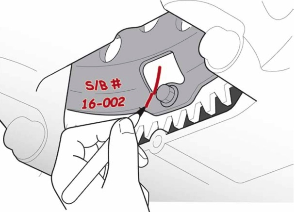 A diagram that shows a where a technician should mark SB 16-002 on the torque converter to show the work has been completed