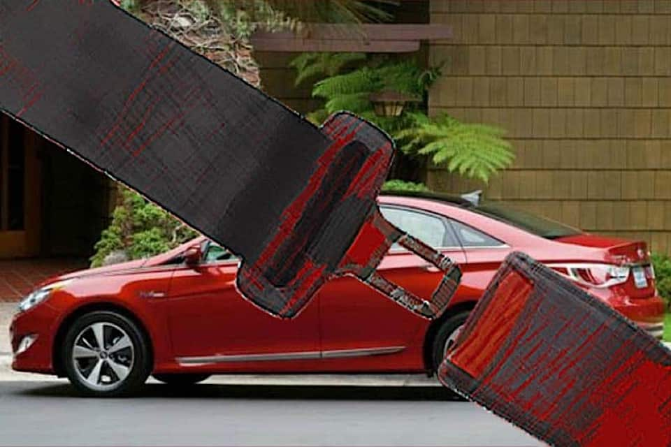 An illustrated and oversized seat belt over a red Hyundai.
