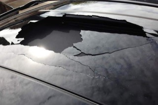 Nissan sunroof with giant shards of glass missing