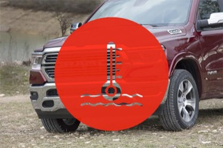 A red Ram 1500 truck with a coolant logo super-imposed over the top