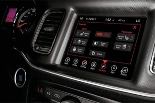 Ram console with uConnect loaded on the infotainment screen