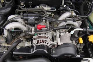 "Top view of a Subaru engine."""