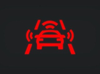 Red warning light of VW's collision avoidance technology