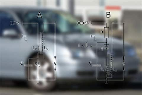 An ignition coil diagram over a blurred out image of a car