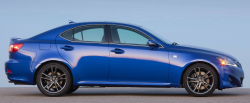 Side view of a blue Lexus at dusk