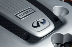 The cover of an m35h engine with the word hybrid above the infiniti logo