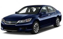 Front 3/4 view of a blue Accord Hybrid on a white background