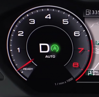 Digital tachometer with a glowing green 'A' indicating auto-start stop is on