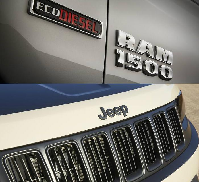 Top image, Ram 1500 EcoDiesel badge. Bottom image. Jeep grille