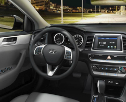 Looking towards the steering wheel and console of a Sonata Hybrid