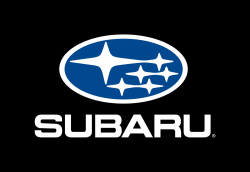 The Subaru logo on a black background