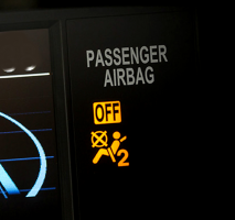 Dash warning light showing the passenger airbag is off