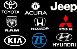 A collage of automaker logos from top left to bottom right – Toyota, Acura, Jeep, Ram, Honda, Mitsubishi, Kia, ZF, Hyundai